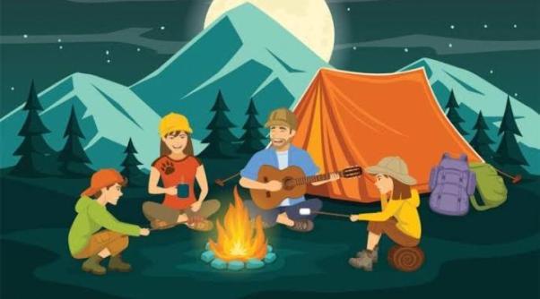 Family campfire art